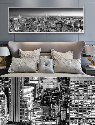 现代城市建筑黑白风景装饰画床头画