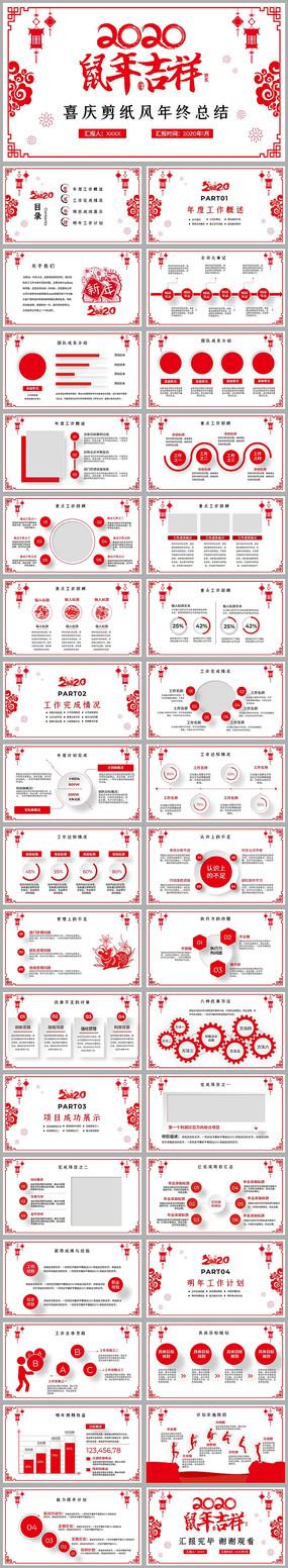 红色创意剪纸风2020年新年计划PPT