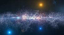 蓝色炫彩光线LOGO标志展示片头pr视频模板