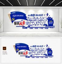 蓝色蓝色警营风采照片墙警营文化墙