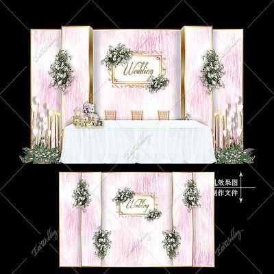 粉色大理石纹婚礼迎宾签到区效果图设计婚庆