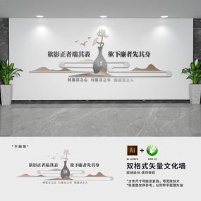 古典新中式廉政建设标语文化墙