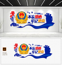 简洁蓝色照片墙部队警察文化墙