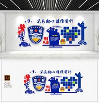 警察文化墙爱心军人风采公安局文化墙