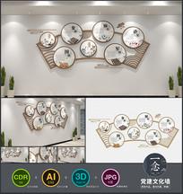 中国风棋牌室立体社区文化墙