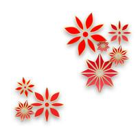 春节鲜花剪纸立体节日元素