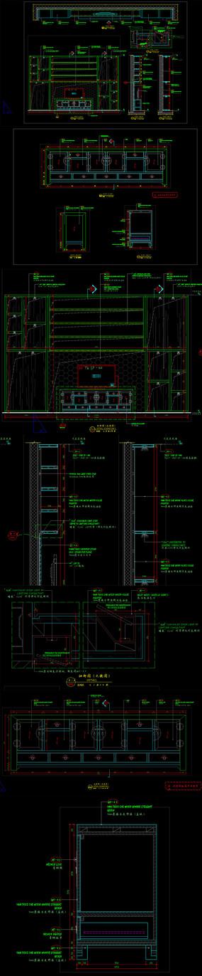 中式电视背景墙中式柜CAD
