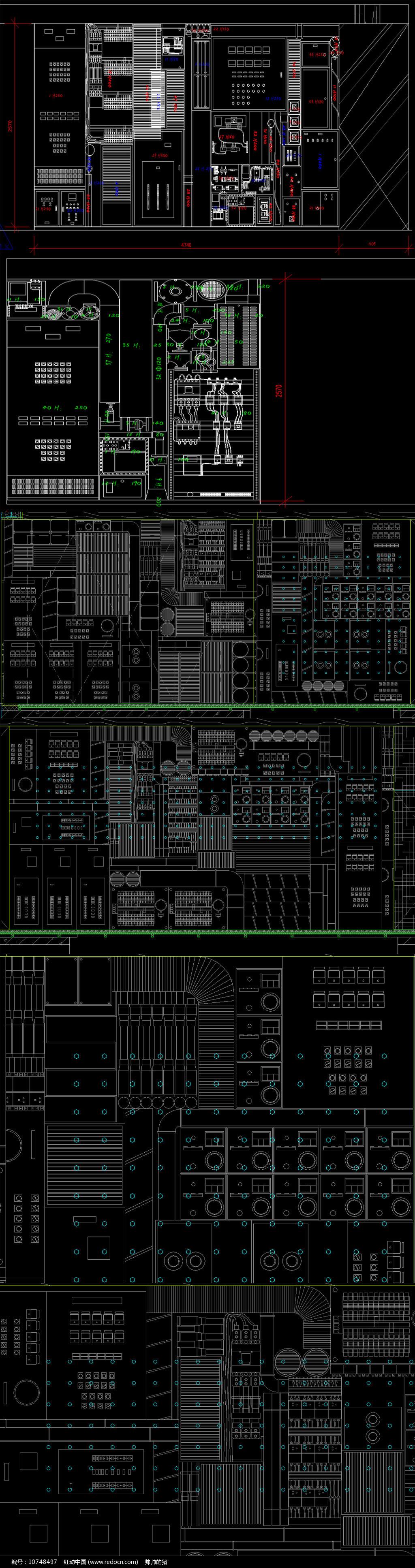 创意机械背景墙cad设计详图图片