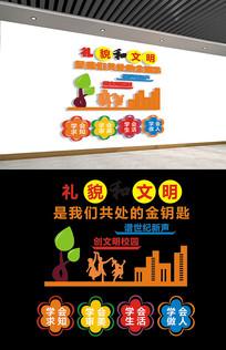 创意礼貌和文明学校文化墙