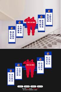 公安局交警楼道过道楼梯展厅警营文化墙