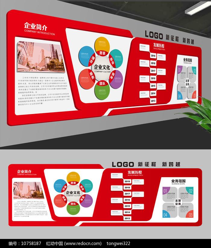 红色企业文化墙图片