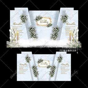 蓝灰色大理石纹婚礼效果图设计婚庆舞台背景