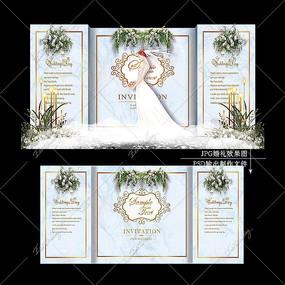 蓝灰色复古大理石纹婚礼效果图设计婚庆舞台