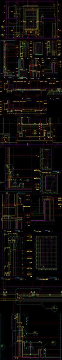 欧式水景背景墙CAD图纸