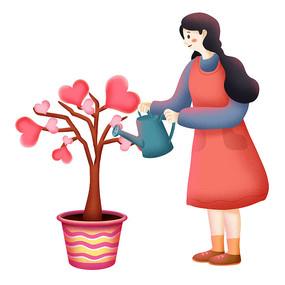 原创元素情人节女孩浇树