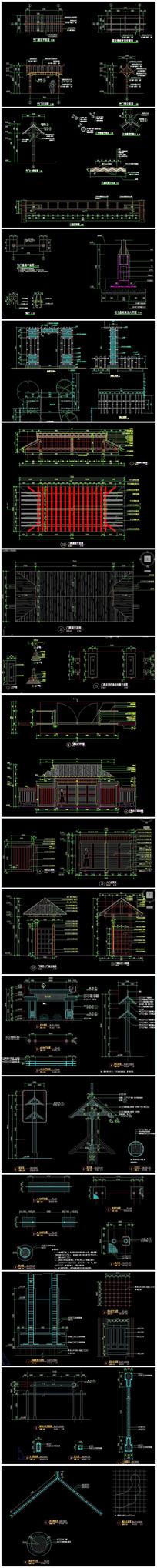 竹门景门木门CAD施工图
