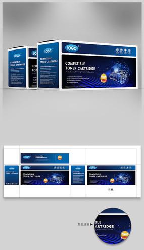 蓝色科技背景硒鼓彩盒设计cdr CDR