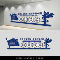 铸造公安铁军党建文化墙