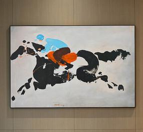 抽象立体赛马选手油画艺术壁画