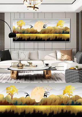 新中式现代简约森林风景晶瓷晶贝装饰画