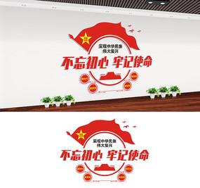 不忘初心牢记使命党建标语文化墙设计