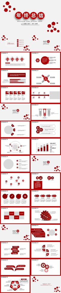 红色2020年终总结PPT模版