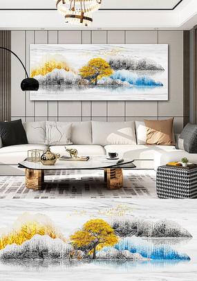 新中式现代简约山水晶贝麋鹿客厅装饰画