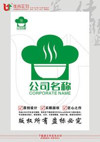 厨师帽子碗筷餐饮标志设计