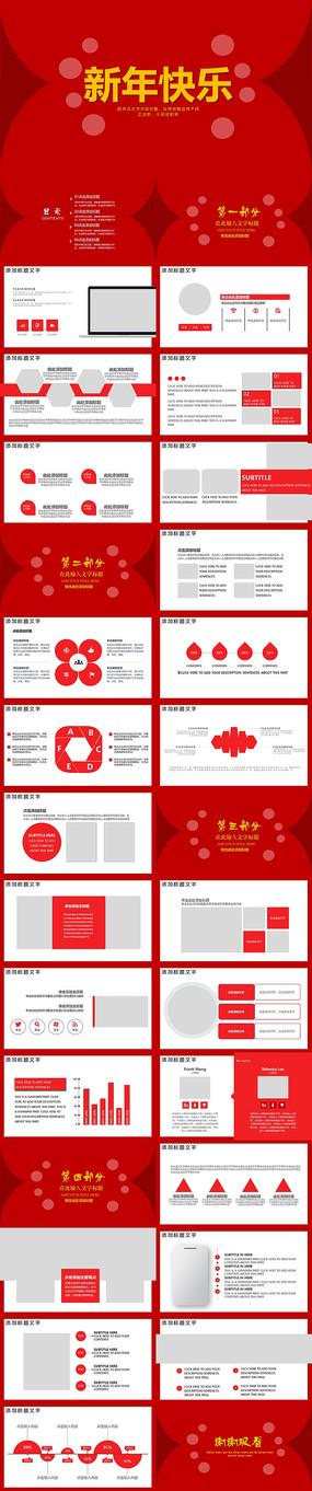 红色喜庆新年快乐PPT模版