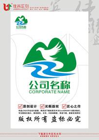山水飞鸟农业茶叶高山标志设计