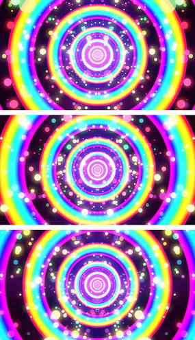 彩虹圈动感闪烁卡通背景视频素材
