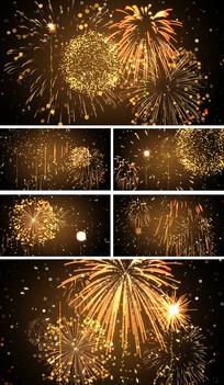 金色粒子烟花节日庆祝开场视频素材