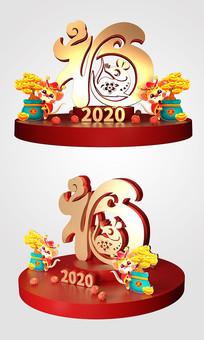 2020年新年美陈鼠年美陈福字美陈设计