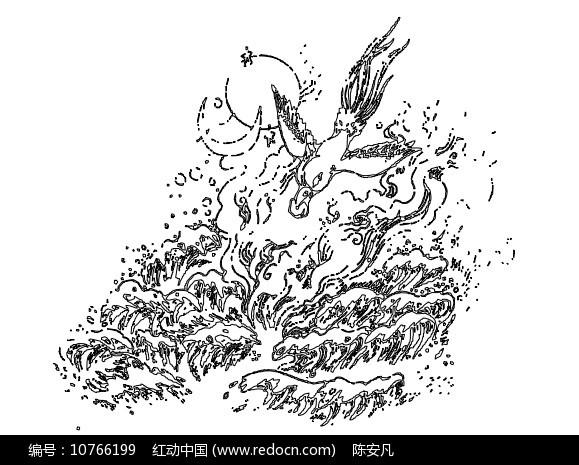 精卫填海山海经传说神话景墙CAD线稿素材图片