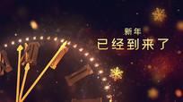 金色新年钟声倒计时祝福元旦片头pr模板