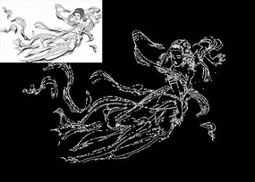 神话女娲仙女山海经传说CAD素材线稿图案