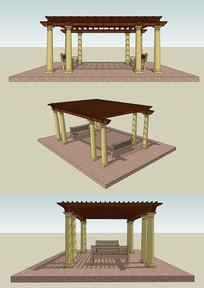 现代中式木结构公园休息廊架座椅组合