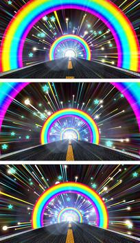 绚丽彩虹通道动感穿梭卡通背景视频素材
