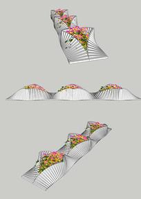 异形花坛SU模型公园景观花坛