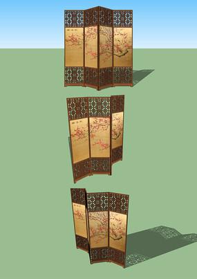 中国风中式木质屏风室内家具