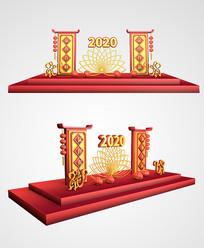 中式2020鼠年新年荷花美陈设计