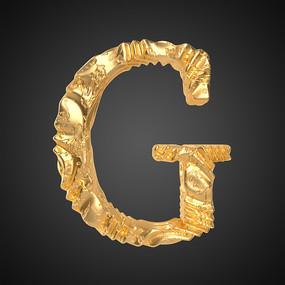 抽象金属质感立体字母G