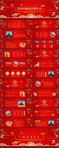 红色宽频中国风企业年会PPT模板