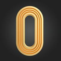 金属线条倒计时周年庆数字0