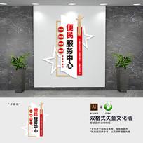 竖版社区便民服务大厅文化墙