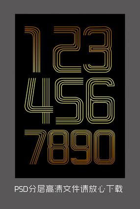 原创黑金大气数字字体设计