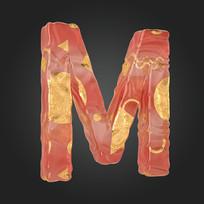 金玉质感立体字母M