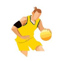 卡通人物手繪運動員球員元素