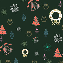 圣诞节装饰花纹圣诞树底纹元素