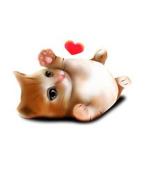 原创手绘可爱卡通萌动物爱心小猫